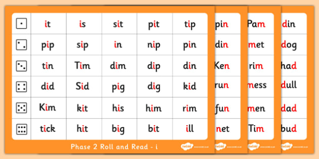 Phase 2 Letter Progression Set i n m d Phoneme Roll and Read Mat