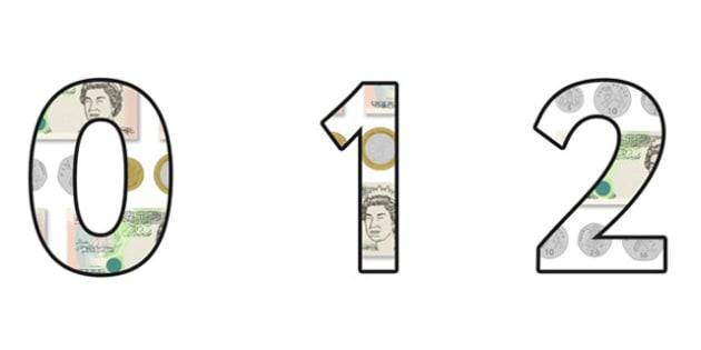 Money Display Numbers Small - money, money numbers, money themed numbers, money themed display lettering and numbers, coins and notes themed display numbers