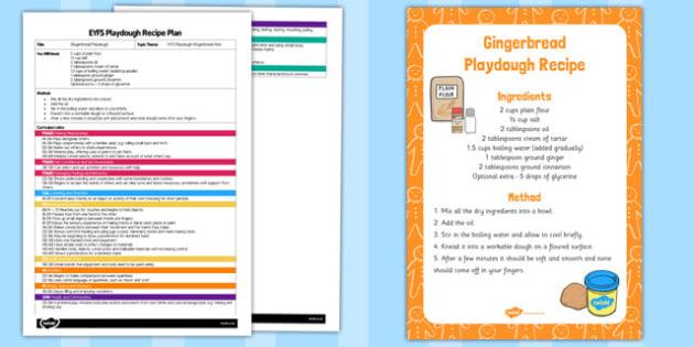 EYFS Gingerbread Playdough Plan and Recipe Pack - playdough, recipe