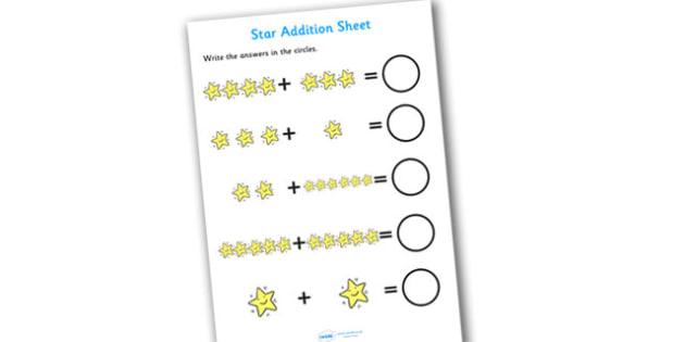 Star Addition Sheet - star addition sheet, addition, addition worksheet, star themed worksheet, star themed addition sheet