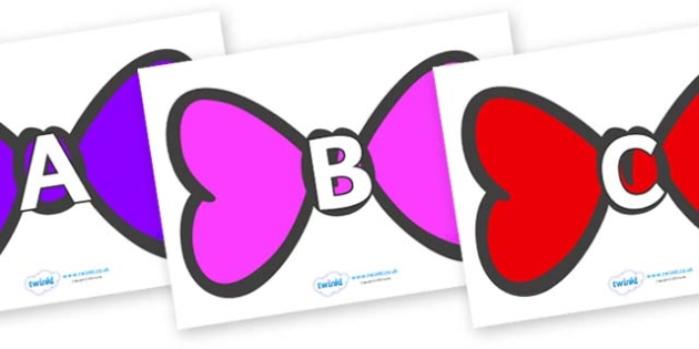 A-Z Alphabet on Bowties - A-Z, A4, display, Alphabet frieze, Display letters, Letter posters, A-Z letters, Alphabet flashcards