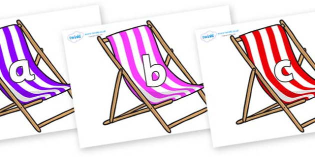 Phase 2 Phonemes on Deck Chairs - Phonemes, phoneme, Phase 2, Phase two, Foundation, Literacy, Letters and Sounds, DfES, display