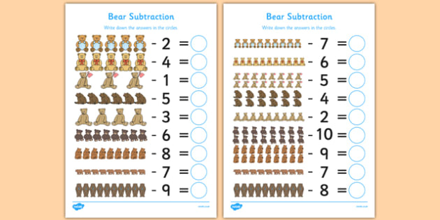 Bear Subtraction Up to 10 and 20 Sheet - bear, subtraction, 10, 20, sheet