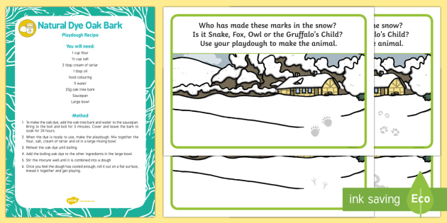 Paw Prints in The Snow Playdough Recipe and Mat Pack - The Gruffalo's Child, Julia Donaldson, winter, snow, oak, tree, bark, Axel Scheffler,