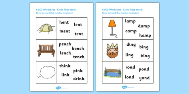 CVCC Phase Three Circle That Word Worksheet - CVCC worksheet, phase 3 worksheet, phase 3 word circling worksheet, CVCC word and picture matching, literacy