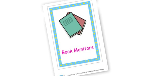 Book Monitor label - Book Labels Primary Resources - pupil, folder labels, book covers