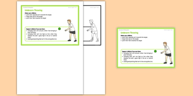 Foundation PE (Reception) - Underarm Throwing Teacher Support Card - EYFS, PE, Physical Development