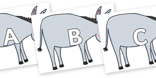 A-Z Alphabet on Hullabaloo Donkey to Support Teaching on Farmyard Hullabaloo - A-Z, A4, display, Alphabet frieze, Display letters, Letter posters, A-Z letters, Alphabet flashcards