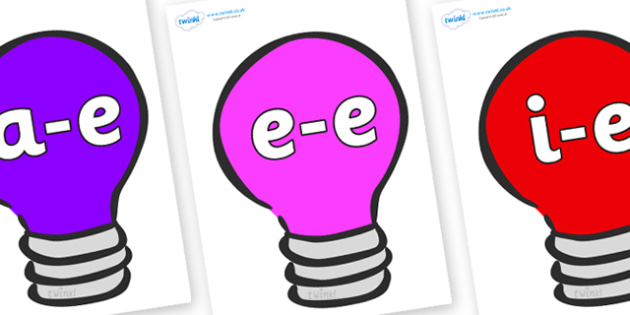 Modifying E Letters on Lightbulbs (Multicolour) - Modifying E, letters, modify, Phase 5, Phase five, alternative spellings for phonemes, DfES letters and Sounds