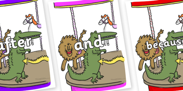 Connectives on Trick 3 to Support Teaching on The Enormous Crocodile - Connectives, VCOP, connective resources, connectives display words, connective displays