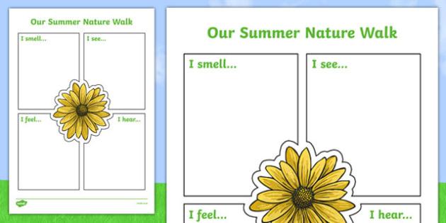Our Summer Nature Walk Writing Frame - summer, writing, frame