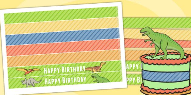 Dinosaur Themed Birthday Party Cake Ribbon - party, cake, parties