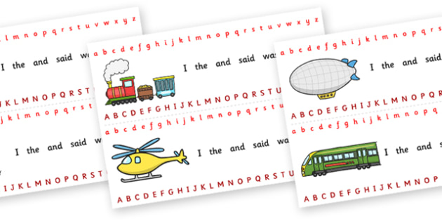 Alphabet Strips (Transport) - Alphabet, Learning letters, Writing aid, Writing Area, car, van, lorry, bike, motorbike, plane, aeroplane, tractor, truck, bus