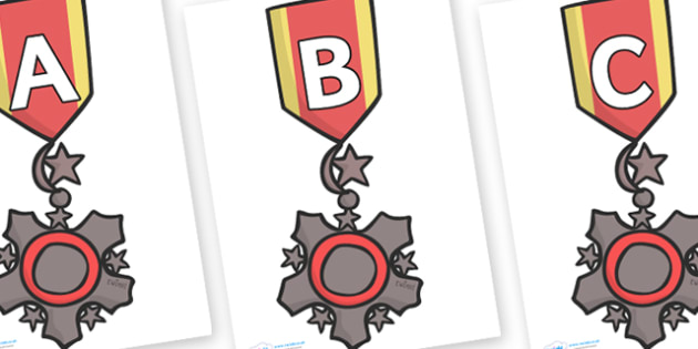 A-Z Alphabet on Medal - A-Z, A4, display, Alphabet frieze, Display letters, Letter posters, A-Z letters, Alphabet flashcards