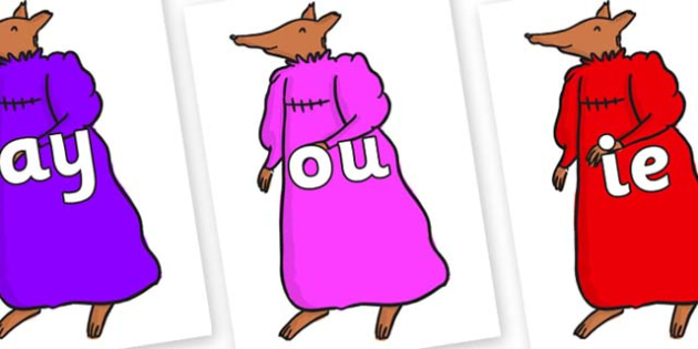 Phase 5 Phonemes on Mrs Fox to Support Teaching on Fantastic Mr Fox - Phonemes, phoneme, Phase 5, Phase five, Foundation, Literacy, Letters and Sounds, DfES, display