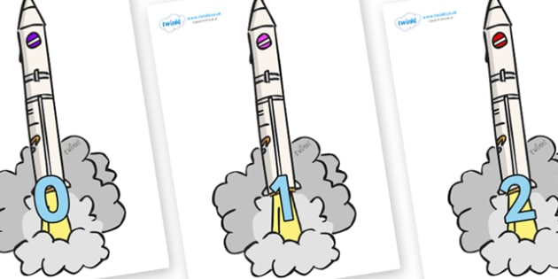 Numbers 0-31 on Launching Rockets - 0-31, foundation stage numeracy, Number recognition, Number flashcards, counting, number frieze, Display numbers, number posters