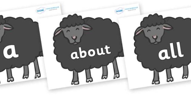 100 High Frequency Words on Baa Baa Black Sheep - High frequency words, hfw, DfES Letters and Sounds, Letters and Sounds, display words