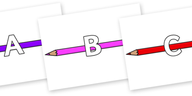 A-Z Alphabet on Pencil Crayon - A-Z, A4, display, Alphabet frieze, Display letters, Letter posters, A-Z letters, Alphabet flashcards