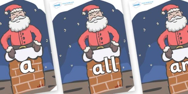 Foundation Stage 2 Keywords on Santa (Chimney) - FS2, CLL, keywords, Communication language and literacy,  Display, Key words, high frequency words, foundation stage literacy, DfES Letters and Sounds, Letters and Sounds, spelling