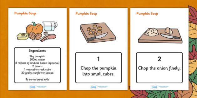 Pumpkin Soup Recipe Sheets - recipe, pumpkin, thanksgiving, recipe card, soup recipe, recipe sheets, display poster, recipe information, recipe thanksgiving, halloween, soup