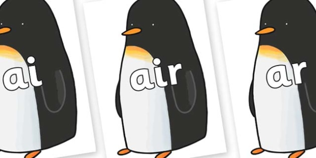 Phase 3 Phonemes on Penguin to Support Teaching on Lost and Found - Phonemes, phoneme, Phase 3, Phase three, Foundation, Literacy, Letters and Sounds, DfES, display