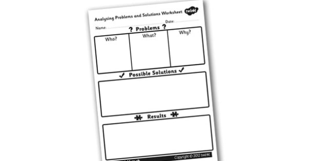 Text Story Analysing Structure Problems and Solutions Worksheet - analysing a text, analysis worksheet, text analysis worksheet, problems and solutions