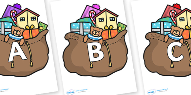 A-Z Alphabet on Christmas Presents - A-Z, A4, display, Alphabet frieze, Display letters, Letter posters, A-Z letters, Alphabet flashcards