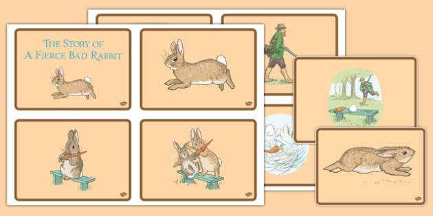 Beatrix Potter - The Story of a Fierce Bad Rabbit Story Sequencing Cards - beatrix potter, fierce, bad, rabbit