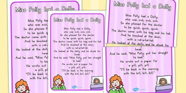 Miss Polly Had a Dolly Nursery Rhyme Poster - australia, rhyme