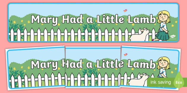 Mary Had a Little Lamb Display Banner - mary had a little lamb, nursery rhyme, display banner, display, banner