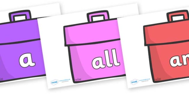 Foundation Stage 2 Keywords on Book Bags - FS2, CLL, keywords, Communication language and literacy,  Display, Key words, high frequency words, foundation stage literacy, DfES Letters and Sounds, Letters and Sounds, spelling