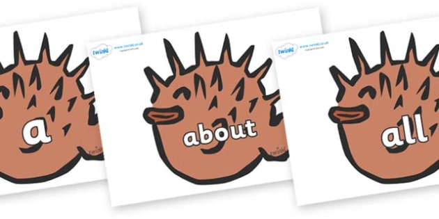 100 High Frequency Words on Puffer Fish - High frequency words, hfw, DfES Letters and Sounds, Letters and Sounds, display words