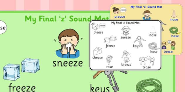 Final 'Z' Sound Word Mat - final z, sound, word mat, word, mat