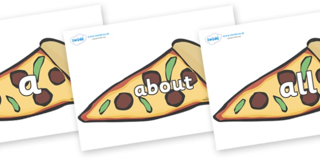 100 High Frequency Words on Pizza Slices - High frequency words, hfw, DfES Letters and Sounds, Letters and Sounds, display words