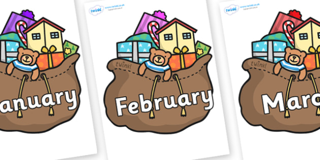 Months of the Year on Christmas Presents - Months of the Year, Months poster, Months display, display, poster, frieze, Months, month, January, February, March, April, May, June, July, August, September