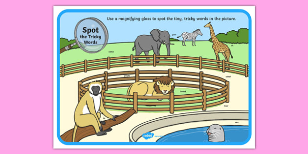 Phase 5 Tricky Words Zoo Scene Magnifying Glass Poster