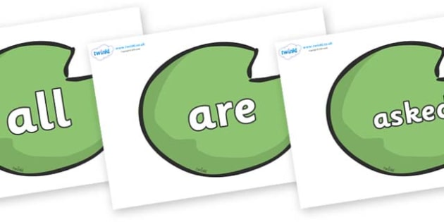 Tricky Words on Lily Pads - Tricky words, DfES Letters and Sounds, Letters and sounds, display, words