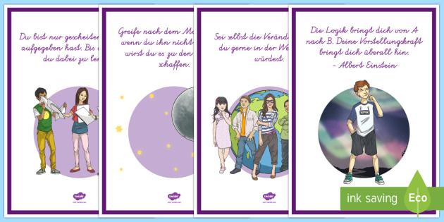 Top 10 Poster für die Klassenraumgestaltung - Poster, Klassenraumgestaltung ,German, motivierenden Sprüchen.