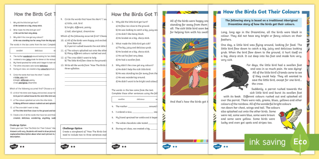 How The Birds Got Their Colours Differentiated Reading Comprehension Activity-Australia - Australia, Aboriginal Dreamtime, Stories, story, ,Australia