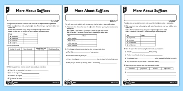 More About Suffixes Differentiated Activity Sheet Pack - GPS, grammar, spelling, punctuation, root word, worksheet