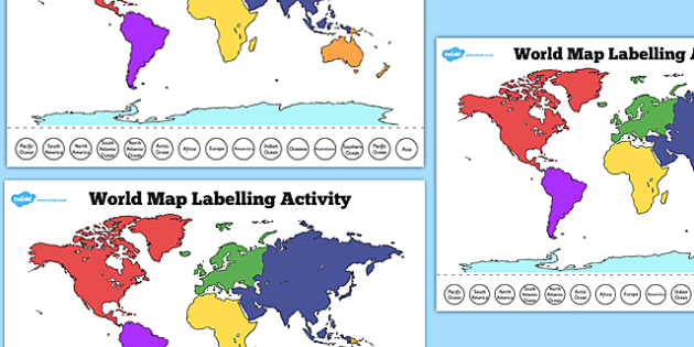 World Map Labelling Activity - world, map, labelling, activity