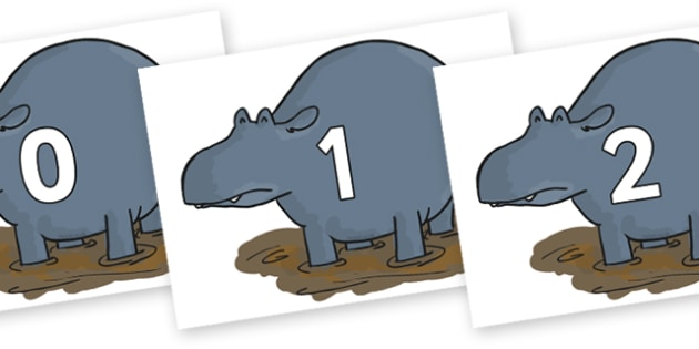 Numbers 0-50 on Humpy Rumpy Hippopotamus to Support Teaching on The Enormous Crocodile - 0-50, foundation stage numeracy, Number recognition, Number flashcards, counting, number frieze, Display numbers, number posters