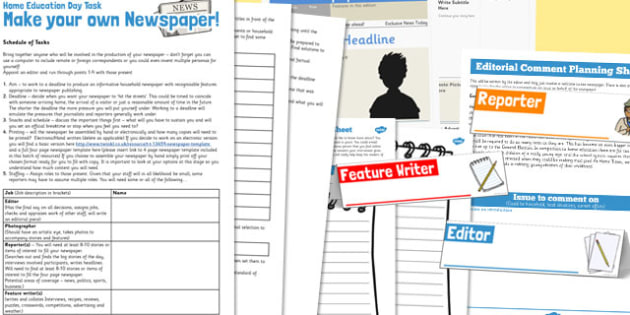 Make Your Own Newspaper Home Education Day Task Pack - newspaper
