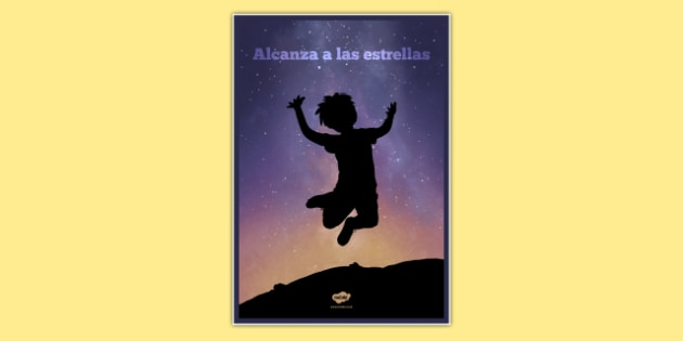 Reach For The Stars Motivational Poster Spanish