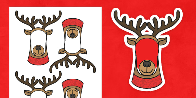 Editable Rudolph Face Cut-Outs