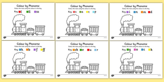Colour by Phoneme Train Phase 2 Activity Pack - colour, phonemes, train, phase 2, satpin