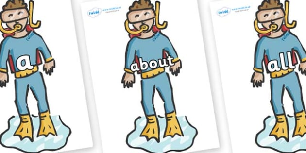 100 High Frequency Words on Divers - High frequency words, hfw, DfES Letters and Sounds, Letters and Sounds, display words