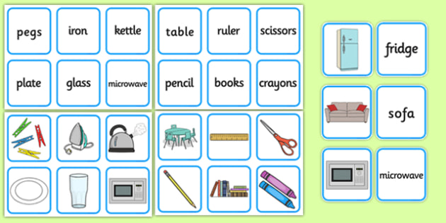 Classroom, Home and Everyday Items Matching Cards - classroom, home, everyday, objects, items, matching, cards, match