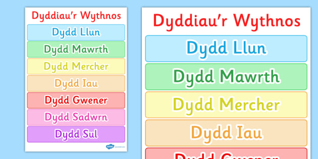 Days of the Week Poster Welsh - posters, display, displays, day