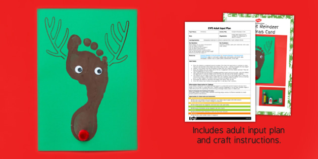 Footprint Reindeer EYFS Adult Input Plan and Craft Pack - footprint, reindeer, eyfs, craft pack